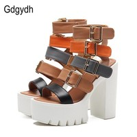 High Heel Multiple Buckle Platform Sandals