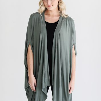 Light Olive PIKO Slouchy Cape Cardigan