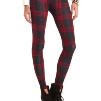 Cotton Plaid Leggings by Charlotte Russe - Red Combo