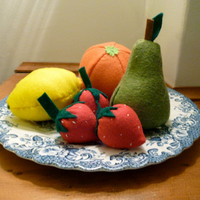 Playfood Fruit Set, Felt Food Fruit Set, Pretend Fruits