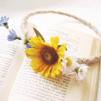 Rustic Flower Crown, Sunflower Circlet , Woodland Floral Crown, Wildflowers, Field Flowers, Country, Burlap, Daisies