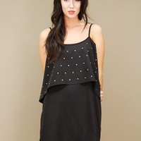 Two-tiered black studded dress, A-line, with cropped tank top bodice. | shopcuffs.com