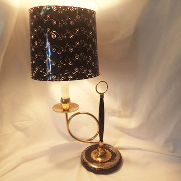 Desk Lamp French Horn or Trumpet Lamp, Original shade,  shabby character desk lamp table lamp