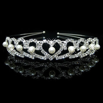 The bride jewelry pearl peach crown  children hair headdress
