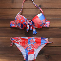 Sexy Women's Floral Printed Push up Bikini Swimsuits Two Pieces +Free Gift -Random Necklace