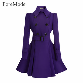 ForeMode Ten Color Winter Belt Buckle Mid-Long Trench Double-breasted Women Dress Long Sleeve Jacket Trench Wool Coat