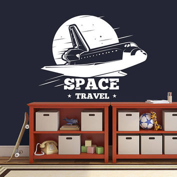 Spacecraft Rocket Wall Decal, Spaceship Wall Sticker, Space Themed Bedroom Wall Decor Decal, Space Bedroom Decal, Kid Space Decor Art se047
