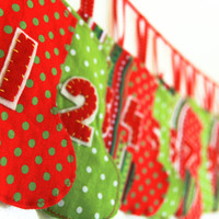 Advent Calendar Garland, Christmas Fabric Stockings Banner