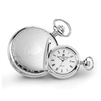 Stainless Steel Oval Design Pocket Watch - Engravable Personalized Gift Item