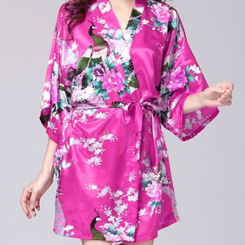 Streetstyle  Casual Peacock Floral Printed Kimono Nightgown