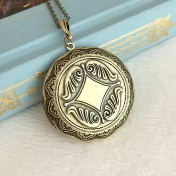 Large Antique Gold Locket Necklace, round bronze locket, embossed locket, photo locket, romantic gift, vintage style locket, deep locket