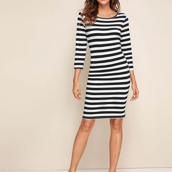 Striped Midi Sheath Dress