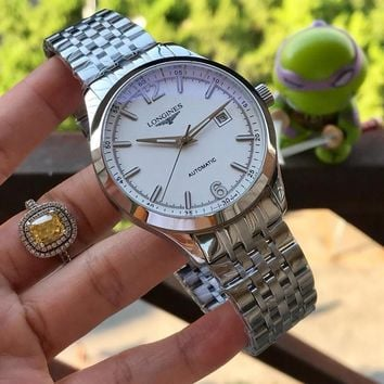 DCCK L031 Longines Automatic Mechanical Men Steel Band Watches Sliver White