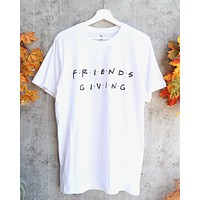 distracted - friendsgiving thanksgiving unisex graphic tee - white