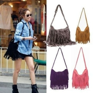 TASSEL CROSS BODY BAG SHOULDER BAG WOMEN MESSENGER BAGS = 1646029700