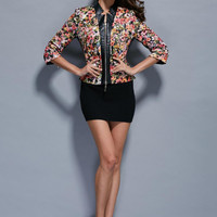 Multicolor Round Neck Length Sleeve Coat -SheIn(Sheinside)