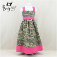 Army ACU Camo Apron Knot Dress 6m-8 years