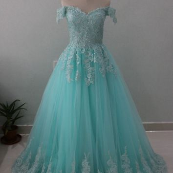Mint Green Off Shoulder Lace Ball Gown Prom Dresses 2018 Robe de Soriee Appliques Beaded Long Evening Dress Formal Party Gowns