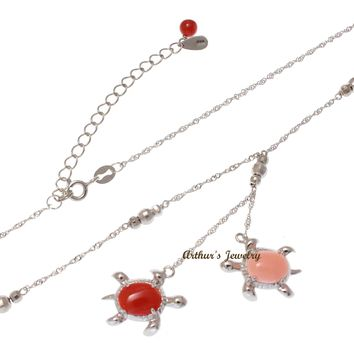 GENUINE PINK RED CORAL HAWAIIAN SEA TURTLE LARIAT NECKLACE 925 SILVER 18""