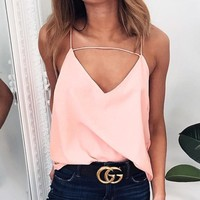 Chiffon Spaghetti Strap Summer Sexy V-neck Tops Women's Fashion Bottoming Shirt [11604663311]