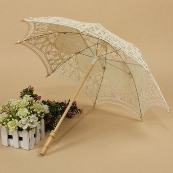Retro Style Lace Handmade Hand Fan Parasol Umbrella Wedding Bridal Party Decor