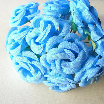 36 Vintage Blue Roses - 1950s Blue Rose Lot - Fake Flowers - Vintage Millinery - Made in Korea