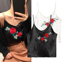 Bralette Beach Sexy Summer Hot Comfortable Stylish Sleeveless Vintage Floral Embroidery V-neck Spaghetti Strap Women's Vest [11651778255]