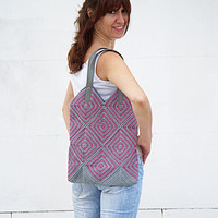 Crocheted Tote Bag Grey Pink