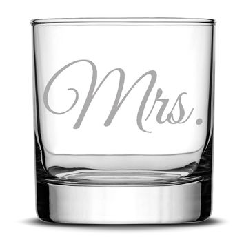 Premium Wedding Whiskey Glass, Mrs., Hand Etched 10oz Rocks Glass