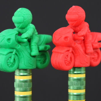 Green and Red Motorcycle Pencil Topper Pair