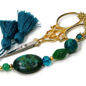 Scissor Fob, Peacock, Blue, Green, Quilting, Sewing, Cross Stitch, Beaded, Gift for Crafter, DIY Crafts, TJBdesigns
