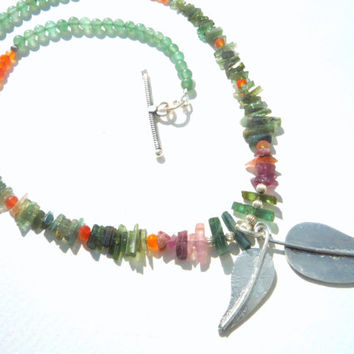 Fine Watermelon Green Tourmaline, Carnelian,Aventurine ,Sterling Silver necklace.Green ,Orange Gemstone necklace.OOAK.Dangle leaves pendant.