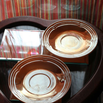 Vintage 1950's Anchor Hocking Three Bands Pattern Saucer Set of Two Fire-King Peach Luster / Lustre Carnival Glass