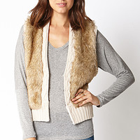 Faux Fur & Cable Knit Vest