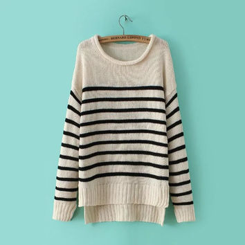 Winter Pullover Stripes Sweater [8542247943]