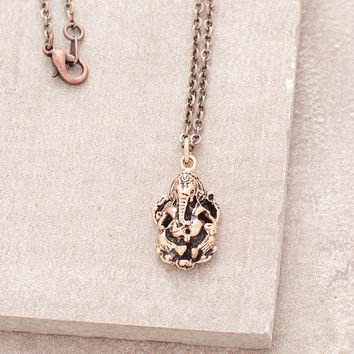 Bronze Ganesh Om Necklace