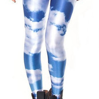 Blue with white clouds leggings size medium