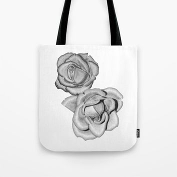 Grey Roses Tote Bag by drawingsbylam