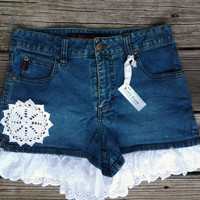 sz 3 Blue Jean Shorts with Scalloped Lace Ruffle and Crocheted Doily  - Juniors Womens Ladies - Handmade by The Hippie Patch