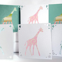Modern Safari Mini Cards  6 Card Set Pink White Teal by BeMyBee