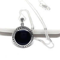 Black Onyx Necklace Sterling Silver Onyx Pendant Natural Stone Pendant Round Cabochon Large Pendant 925 Silver Jewelry