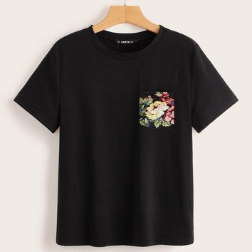 Patched Floral Pocket Tee