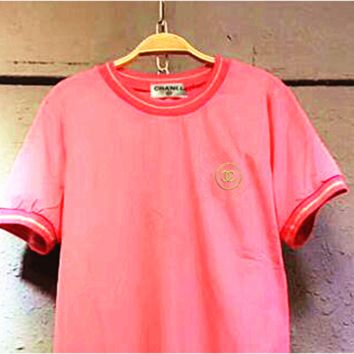 Chanel Pink embroidered T-shirt