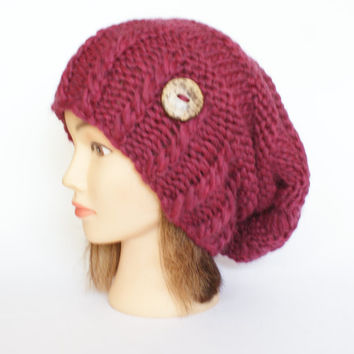 Dark rose wool slouch hat women - beanies hat - Slouch Beanie - irish hats - chunky hat - Chunky Knit Winter Fall Accessories , Slouchy hat