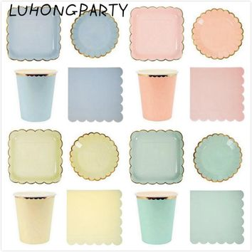 68pcs Stripe Gold Paper Plates Cups Napkins Drinking Straws for Bridal Shower Party