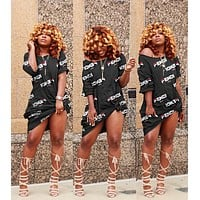 FENDI Newest Women Casual Print Short Sleeve Knee-Length Dress Black