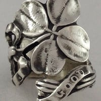 Size 5 Vintage Lucky Sterling Silver Spoon Ring