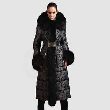 Goose Down Coat brand 2016 winter Jacket Women Down Jackets X-long thicken large fur Hooded down coats Women's Outerwear Parka