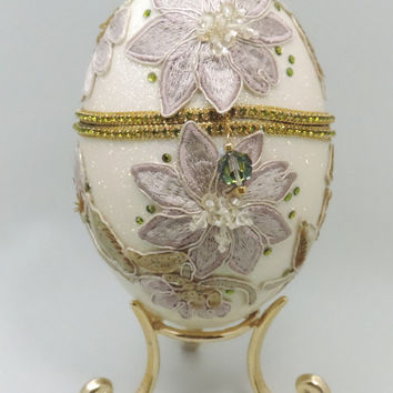Jewel Box with Vintage Flower Appliqués Wedding Ring Jewelry Box Jeweled Egg Ornament Faberge Style Decorated Egg Art