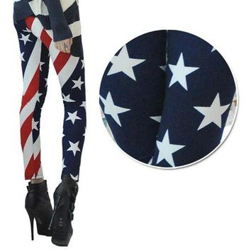 ONETOW 2017 New Arrival Women American Flag High Waist Sports Gym Yoga Legging Running Pants Workout Clothes #E0